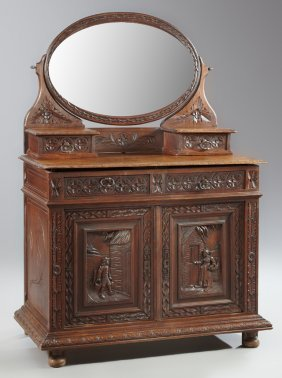 French Brittany Style Carved Oak Washstand, Late 19th