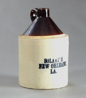 New Orleans Solari's Stoneware Whiskey Jug, Early 20th