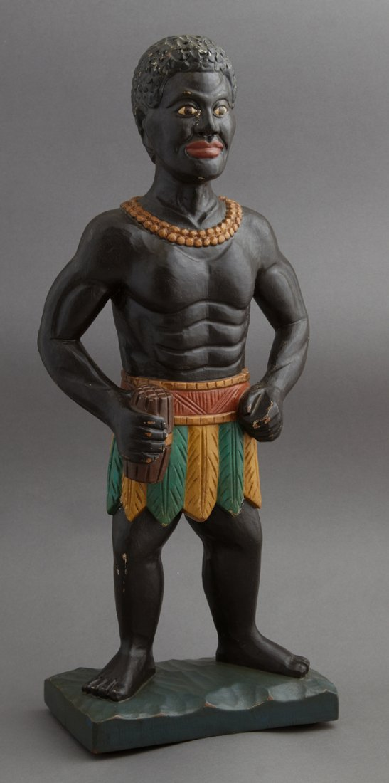 Black Americana Wood Carved Cigar Store Counter Figure