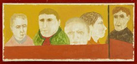 "Ralph Dubin (1918-1988), ""portrait Of Five Men,"" 20th"