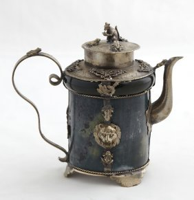 Chinese Dark Green Jade Silver Plated Teapot, The