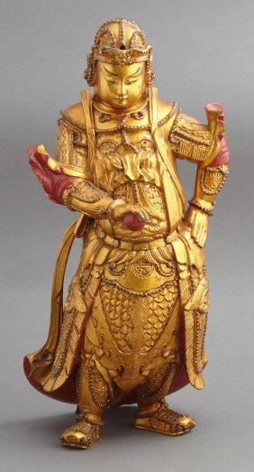Oriental Gilt Carved Wooden Figure, 20th C., Of A Man