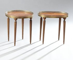 Two French Directoire Style Inlaid Mahogany End Tables,