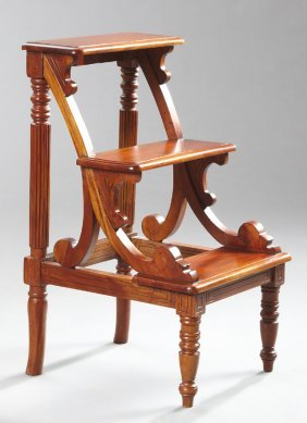Regency-style Mahogany Library/bed Steps, Fitted With