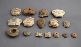 Group Of Fifteen Pre-columbian Clay Fragments,