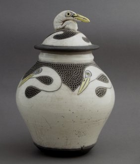 Raku Pottery Covered Jar, C. 1996, Made By Robin Duke