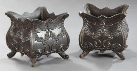 Pair Of Cast Iron Jardinieres, 20th C., Each With A