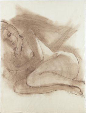 "Clendenin, ""reclining Nude,"" 1971, Charcoal, Signed And"