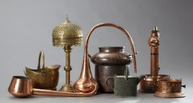 Group Of Eight Pieces Of French Metalware, 19th C.,