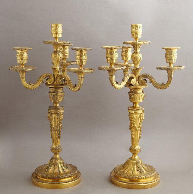 Pair of Louis XVI Style Gilt Bronze Four Light
