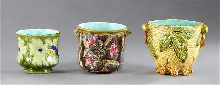 Group of Three Majolica Jardinieres, 19th c., each with