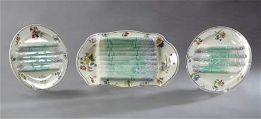 Thirteen Piece Ceramic Asparagus Set 19th c by