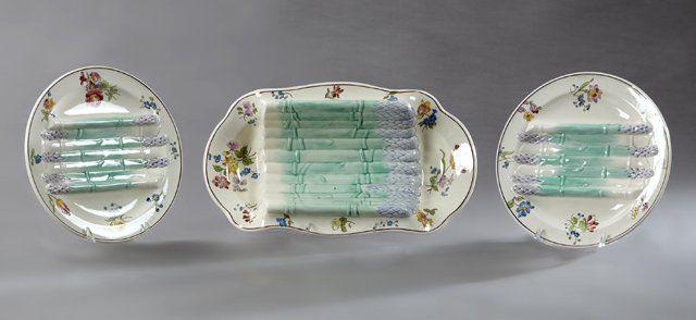 Thirteen Piece Ceramic Asparagus Set, 19th c., by