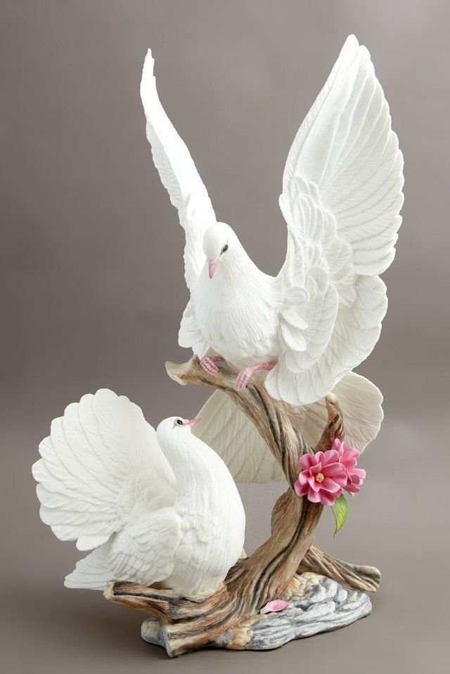 """Boehm Porcelain """"Doves With Cherry Blossom,"""" 1986,"""