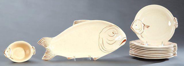 Twelve Piece Ceramic Fish Set, late 19th c., by Longwy,