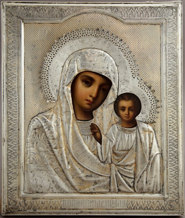 Russian Icon of the Virgin of Kazan, Moscow, 1894, with