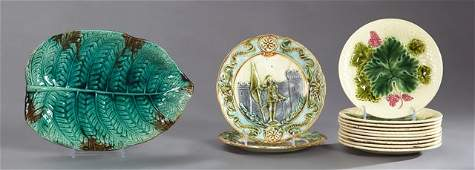 Group of Thirteen French Majolica Pieces 19th c ten