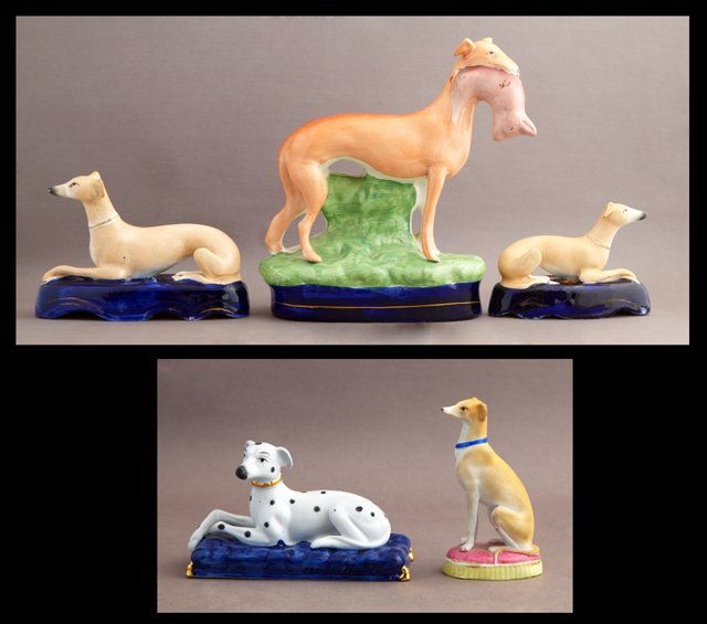 Group of Five Dog Figures, 20th c., consisting of two