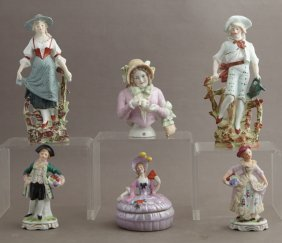 Group Of Six Polychromed Bisque Figures, Consisting Of