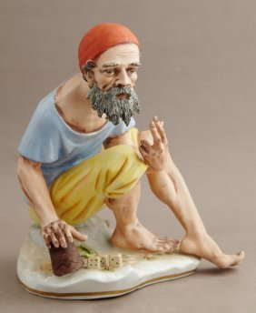 German Porcelain Hand Painted Figure, C. 1900, Of A Man