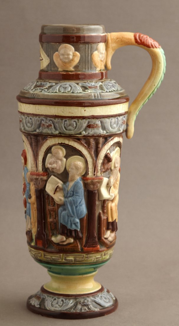 Continental Glazed Majolica Footed Jug, 19th c., of