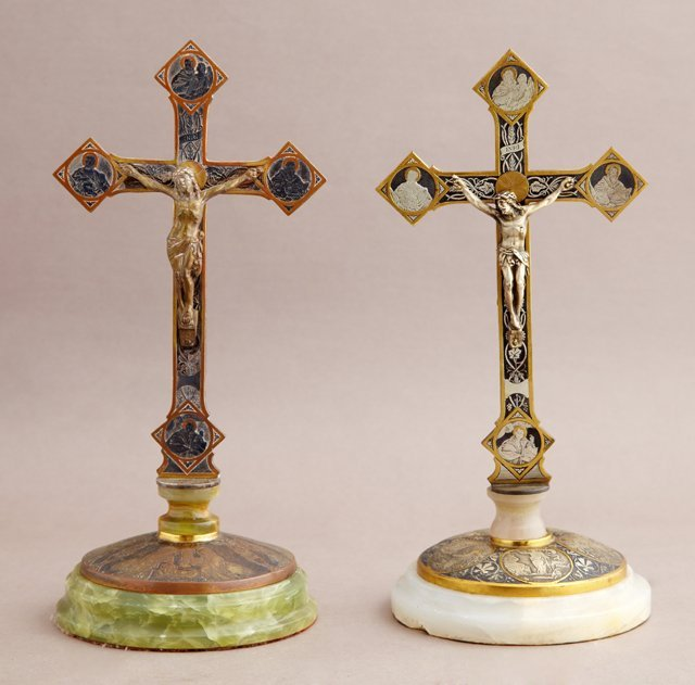 Two Unusual Gilt and Patinated Bronze Table Crucifixes,