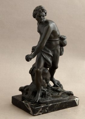 Patinated Bronze Figure, 20th C., Of A Male Warrior, On