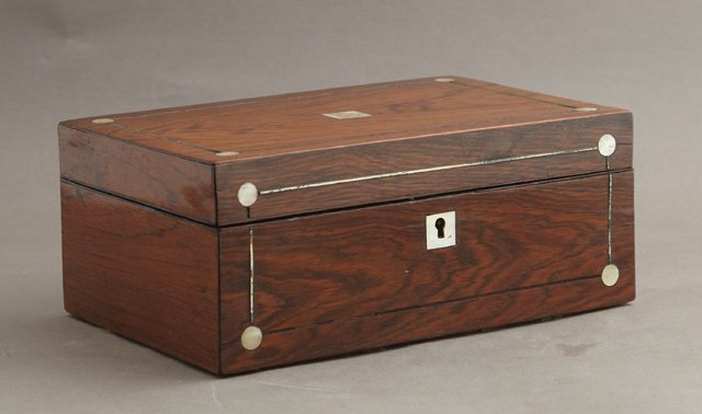 English Carved Rosewood Jewelry Box, c. 1910, inlaid