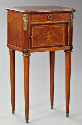 French Louis Xvi Style Marquetry Inlaid Ormolu Mounted