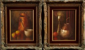 """J. Hovener, Still Life With Copper Pot,"""" And """"still"""