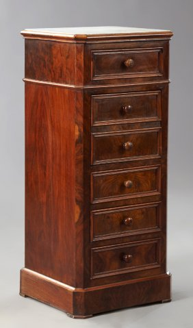 French Louis Philippe Carved Walnut Marble Top