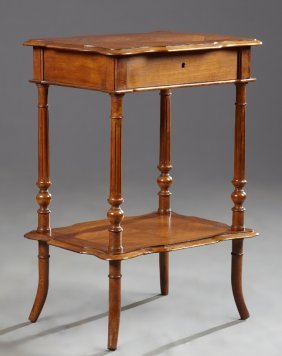 French Restoration Carved Walnut Work Table, 19th C.,