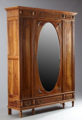 French Louis Xvi Style Carved Walnut Armoire, Early