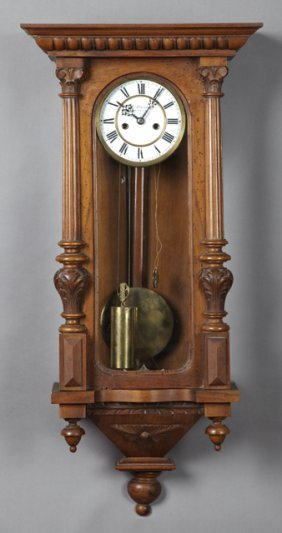 German Carved Walnut Two Weight Vienna Regulator Wall