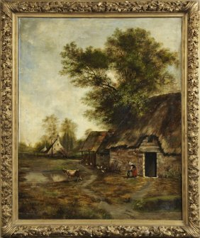 "French School, ""farmhouse Scene With Cow Watering,"""