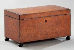 English Line Inlaid Burled Walnut Tea Caddy, 19th C.,