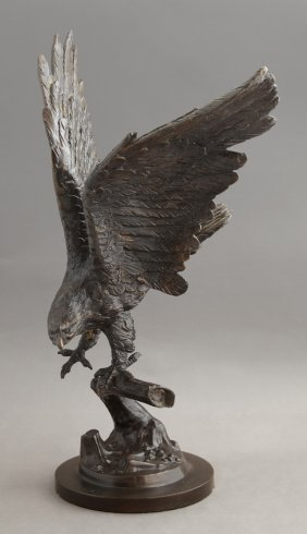 Patinated Bronze Eagle Landing On A Branch, 20th C., On
