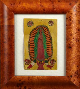 Mexican Retablo Of Our Lady Of Guadalupe, 20th C., Oil