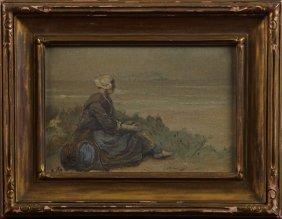 "David Adolph Artz (1837-1890, Dutch), ""girl Seated On"