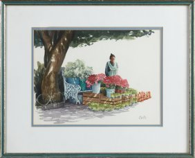 """Cole, """"the Flower Seller,"""" 20th C., Watercolor, Signed"""
