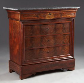 French Louis Philippe Carved Mahogany Marble Top