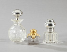 Group Of Three Glass Items, Consisting Of A Sterling