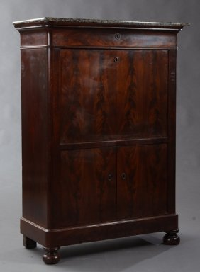 French Empire Style Carved Mahogany Granite Top