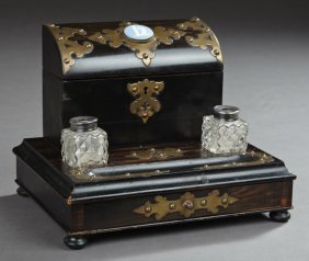 English Brass Mounted Rosewood Grained Desk Box, C.