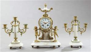 French Three Piece White Marble and Gilt Brass Figural