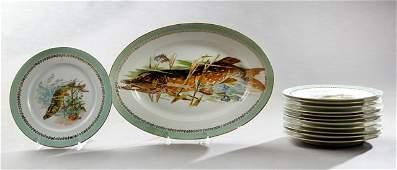Thirteen Piece Limoges Porcelain Fish Set, c. 1900,