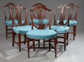 Set Of Six Hepplewhite Style Carved Mahogany Dining