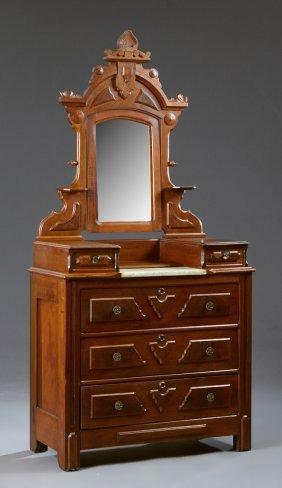 American Renaissance Revival Carved Mahogany Dropwell