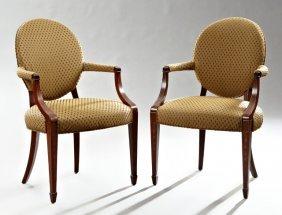 Pair Of Hepplewhite Style Marquetry Inlaid Mahogany