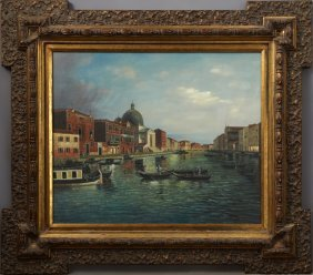 "Chinese School, ""venetian Canal Scene,"" 20th/21st C.,"